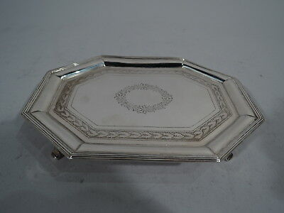 Georgian Salver - Antique Regency Neoclassical Tray - English Sterling Silver