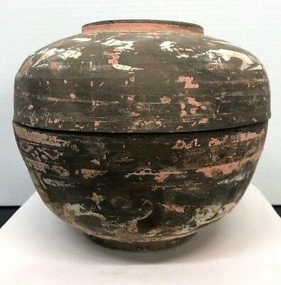 Antique Chinese Han Dynasty Pottery Jar With Lid