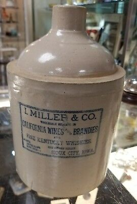 I Miller & Co Advertising Jug Red Wing Sioux City Iowa Stoneware