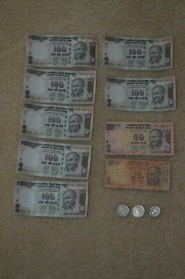 Lot of Circulated Indian Rupee coin and bills