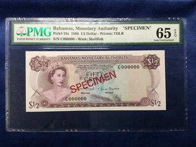 3rd Finest P 26s Bahamas 1968 1/2 Dollar Monetary Authority SPECIMEN PMG 65 EPQ