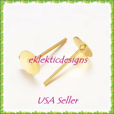 20pcs 6mm Gold Plated Flat Back Stud Posts Earrings Jewelry Findings 10prs