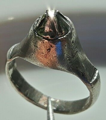 ANCIENT BYZANTINE SILVER RING with REAL NATURAL DIAMOND !!! RARE !!