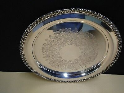"""Wm Rogers Silverplate Serving 10""""  Round Tray  Braided Rope Edge, Etched"""