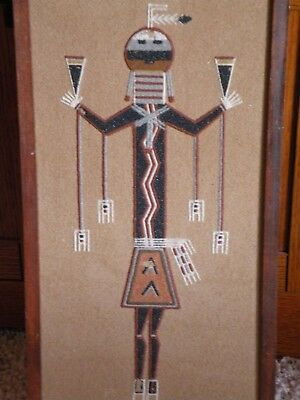 """Vintage Navajo """"Holy Man of the Feather chant"""" Sand Painting"""