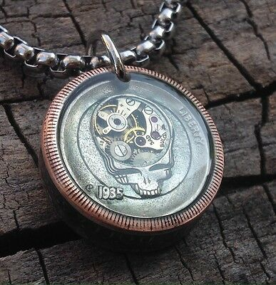 """Steampunk Hobo Nickel Pendant """"Grateful Dead"""" (with 26"""" Stainless Steel Chain)"""