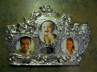 Things Remembered Noahs Ark Baby Shower Silver Tone Table Top Easel Style Frame