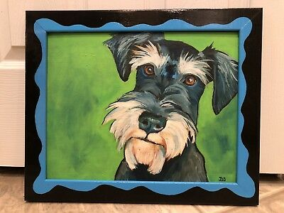 Framed Pop Art Schnauzer Dog Vibrant Colors Pet Portrait Oil Painting JSB