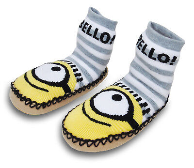 Toddler Boys Minions Slipper Socks with Grippers Size 3T-4T