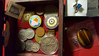 Treasure Wood Box Coins Silver & Gold Clad Stamp, Ring, Jewelry Set - LOT
