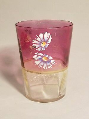 Hand Painted Enamel Flowers Pink Gold Band Glass Tumbler Victorian 1800s