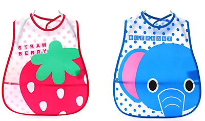 Baby Toddler Plastic Wipe Clean Bib Cover All Animals Weaning Feeding Dinner