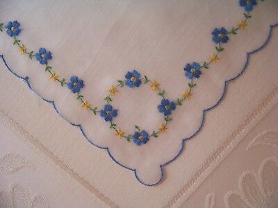 Vintage Beautiful Blue Floral Garland w/Circle Corners Scalloped Hankie