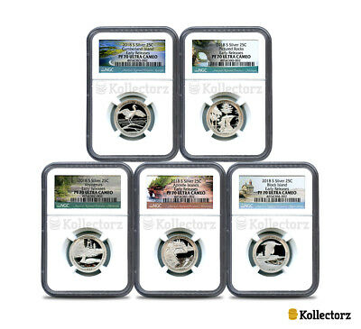 2018 S Silver Quarters Set America The Beautiful Proof Ngc Pf70 Early Releases