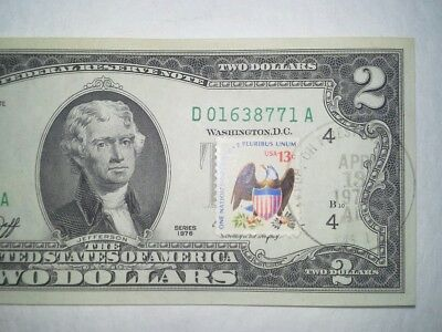 1976 $2 Federal Reserve Note FIRST DAY OF ISSUE 4-13-1976 Crisp UNCIRCULATED