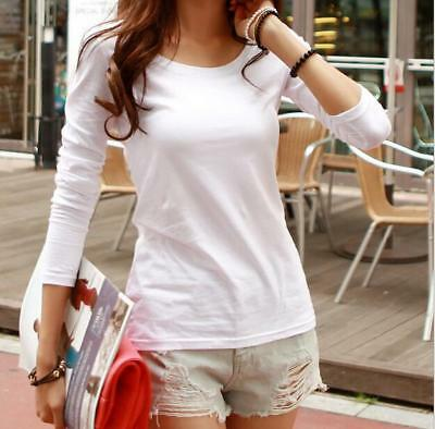 Women Casual 100% Cotton Long-sleeved White Solid Color Round Neck T-shirt