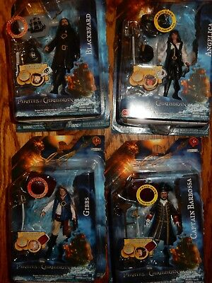 "Lot Pirates of the Caribbean 4 Action Figures 2011 3 .75"" Angelica, Blackbeard,."