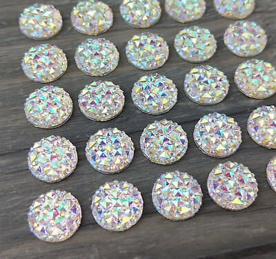 12mm AB Cabochons 10/20/50pc - Bulk Resin DIY Craft Earring Cabs  FBC113