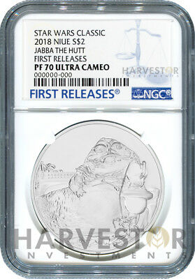 2018 Silver Star Wars Classic: Jabba The Hutt - Ngc Pf70 First Releases W/ogp
