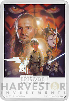 2018 Star Wars The Phantom Menace Poster Coin - 1 Oz. Silver Coin - Ogp Coa