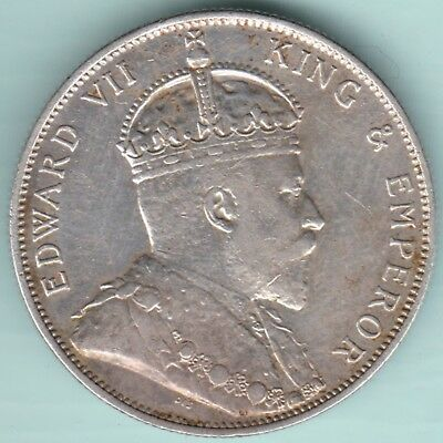 Strait Settlements - 1902 - King Edward Vii - Fifty Cents - Ex Rare Silver Coin