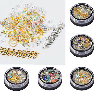 Mixed 3D Nail Art Chain Crystal Beads Acrylic Sequin Decoration Tips Manicure