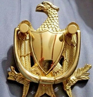 Old Vintage Brass Eagle Shield Door Knocker 7 Inches Tall