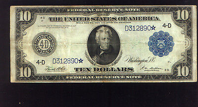 """RARE (25 known) """"higher grade"""" 1914 Fr 919a $10 STAR note"""