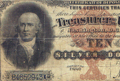 rare Fr 289 1880 $10 Silver Certificate BLACK BACK = affordable example