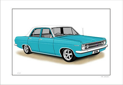 1967 Holden Hr  Sedan Limited Edition Car Drawing Print  ( 6 Car Colours)