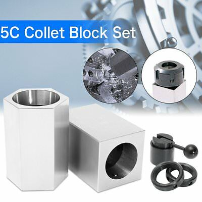 5Pcs 5C-CB Collet Block - Hex Collet Block, Square Collet Block and Collet Set T