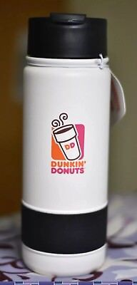 Dunkin Donuts 18oz Stainless Coffee Travel Mug Tumbler With Silicone Band... New