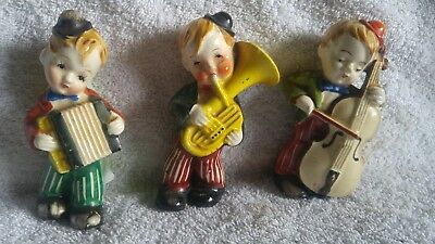 ☆•☆ LOT OF 3 OCCUPIED JAPAN 3 MUSICAL BOYS VERY NICE OLD ITEM Pre-1952 ☆•☆