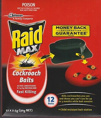 Johnson RAID COCKROACH BAITS 12 pack Fast killing - NEW - Free Ship in Australia
