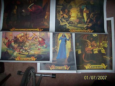 Coca cola, McDonalds all 5 Campus Fantasy Posters Greg & Tim Hildebrandt vintage