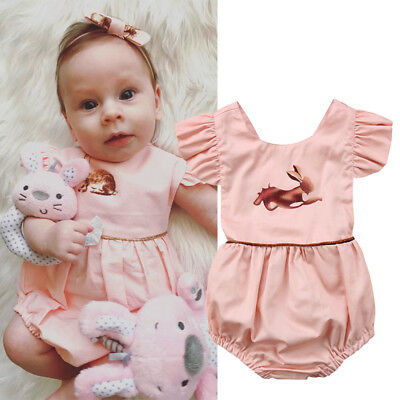 Toddler Infant Baby Girl Easter Romper Jumpsuit Cotton Bodysuit Clothes Outfit