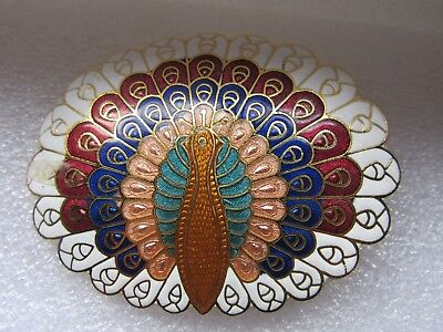 Cloisonne Enamel Gold Tone Peacock Belt Buckle