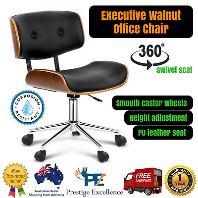 Executive Walnut Office Chair w/ Swivel Seat Premium PU Leather Wooden Material