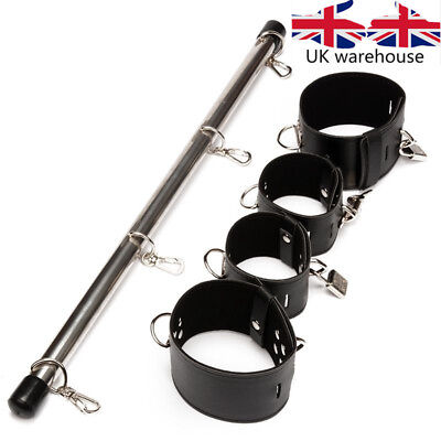 Ankle & Wrist Cuffs Locks PU Leather Stainless Steel Bondage Leg Spreader Bar UK