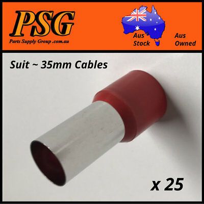 Cable Ferrules 35mm2 x 25 pack, Bootlace, Pin Crimps, Wire Sleeves