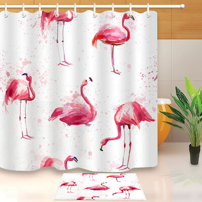 Watercolor Pink Flamingo Shower Curtain Polyester Fabric Curtains Accessories