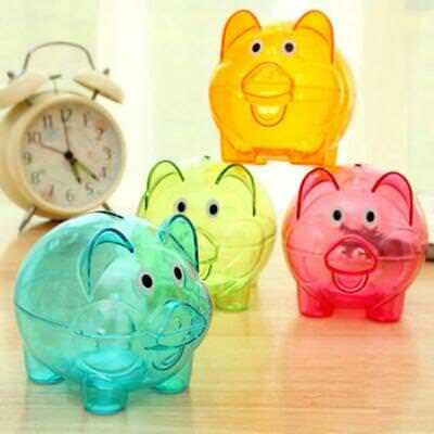 Piggy Money Box Save Coins Cash Fun Plastic Pig Safe Kid Gift Bank FW