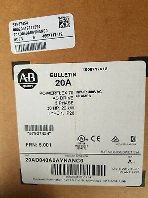VFD VSD AB AC Drive 20AD040A0AYNANC0 Powerflex 70 30HP NEW IN SEALED BOX