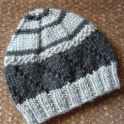 Baby Beanie. Hand-Knitted By Me. Extra Soft. Grey/charcoal. Boy Or Girl.