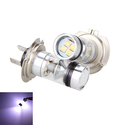 2PCS H7 6000K 100W LED 20-SMD Projector Fog Driving DRL Light Bulbs HID White