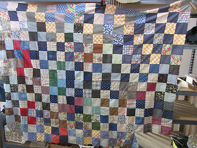 Vintage Hand Sewn Patchwork Quilt Top Only- Blues-Square Pattern QT#18