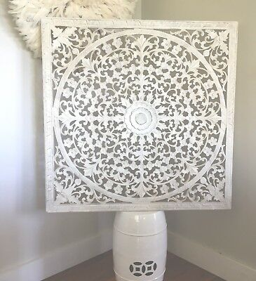 Large 100x100cm White Wash Wood Carved Wall Panel, Hamptons, Wall Art