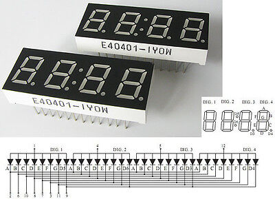 "0.4"" 7 Segment - 4 Digit Gelb /  LED Display Common Anode Anzeige"
