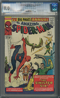 AMAZING SPIDERMAN Annual #1 CGC 8.0 WHITE Pages 1st Sinister Six
