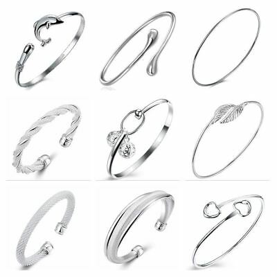925 Silver Plated Adjustable Bangles / Bracelets Ladies Statement Gift Womens